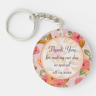 Pink Spring Floral Wedding Thank You Double-Sided Round Acrylic Keychain