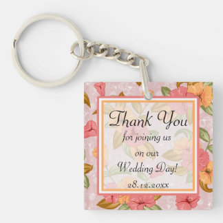 Pink Spring Floral Wedding Thank You Double-Sided Square Acrylic Keychain