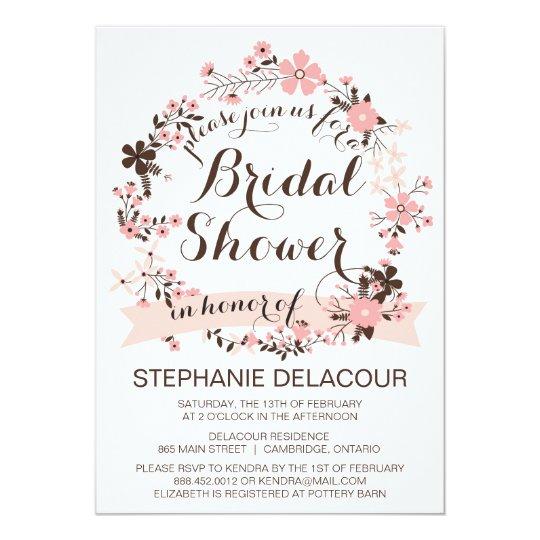Pink Spring Floral Wreath Bridal Shower Invitation