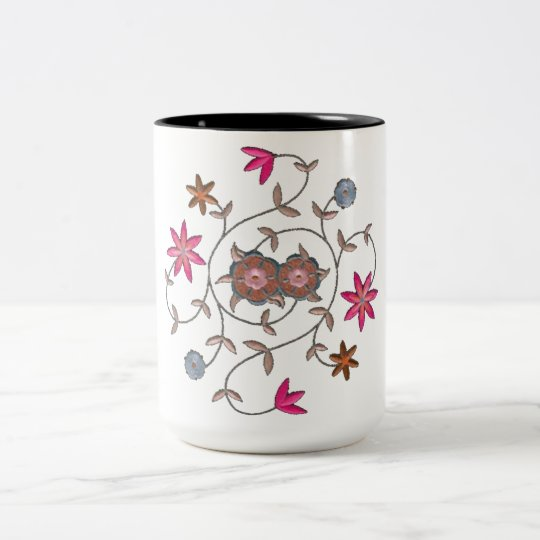Pink Spring Flower Garden Two-Tone Coffee Mug