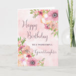 """Pink Spring Flowers Granddaughter Birthday Card<br><div class=""""desc"""">Birthday card for granddaughter with pretty pink watercolor flowers and thoughtful verse.</div>"""