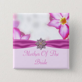 Pink Spring Flowers Watercolor Wedding Pinback Button