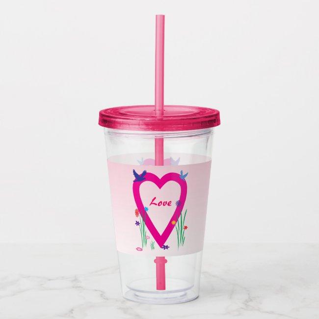 Pink Spring Heart Valentine Love Acrylic Tumbler