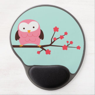 Pink Spring Owl Gel Mouse Pad