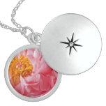 Pink Spring Peony Flower - Peonies Template Round Locket Necklace