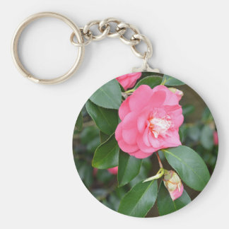 Pink spring peony flowers basic round button keychain