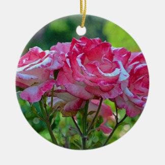 Pink spring roses ceramic ornament