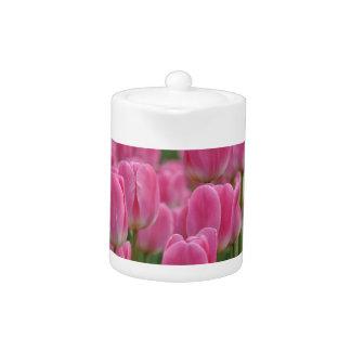 Pink spring tulips teapot