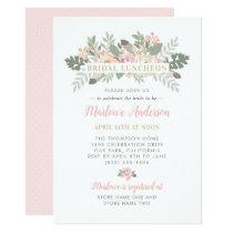 Pink Spring Vintage Boho Floral Bridal Luncheon Invitation