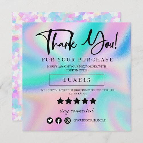 Pink Sprinkle Holographic Thank You Discount Card