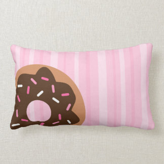 Pink Sprinkled Donut Throw Pillow