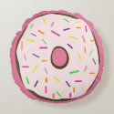 Pink Sprinkles Round Frosted Doughnut, Cute Girly Round Pillow