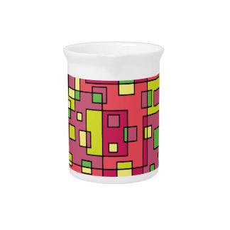 Pink square-background beverage pitcher