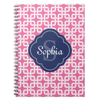 Pink Square Chain Pattern Blue Monogram Spiral Notebook