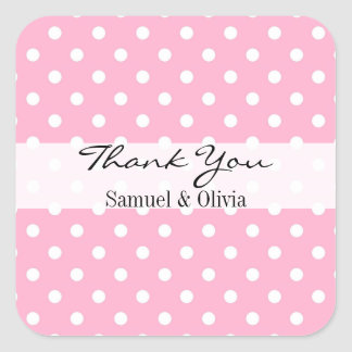 Pink Square Custom Polka Dotted Thank You Square Sticker