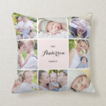 "Pink Square Family Photo Collage Pillow<br><div class=""desc"">Display your families best memories with this modern and elegant eight photo collage pillow. Personalize with your favorite photos. This will also be perfect for as a wedding photo collage and baby photo collage.</div>"