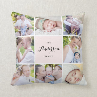 Pink Square Family Photo Collage Pillow