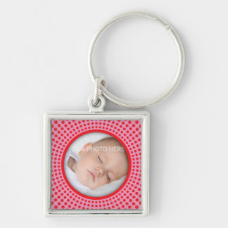 Pink square photo frame with red dots keychain