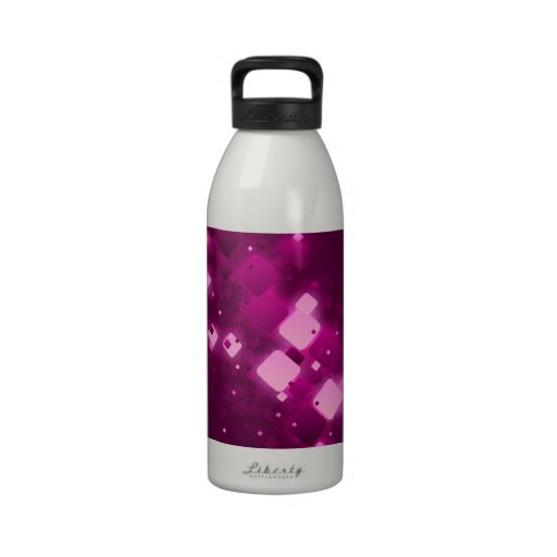 Pink square sparkle reusable water bottles
