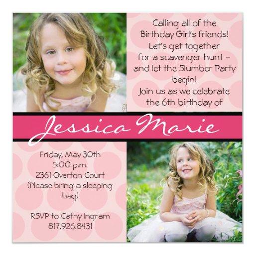 "Pink Square with polka dots and ribbon 5.25"" Square Invitation Card"