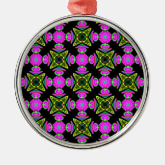 Pink Squared Design Metal Ornament