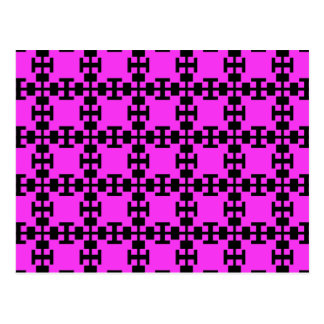 Pink  squares and squares postcard