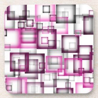 Pink Squares corkcoaster