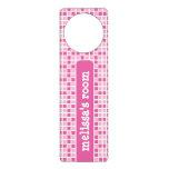Pink Squares Pattern Door Knob Hangers