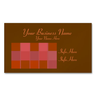 Pink Squares Pattern Magnetic Business Card
