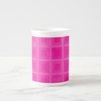 Pink Squares with a Little Heart Bone China Mug