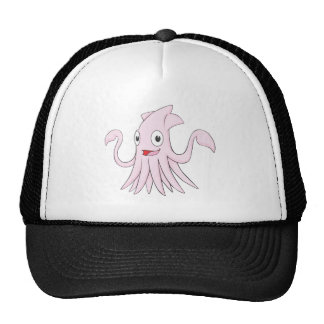 Pink Squid Hands Up Pointing Left Right Showing Trucker Hat