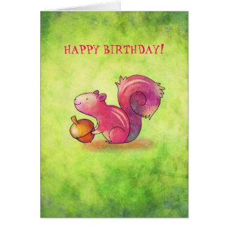 Pink Squirrel Greeting Card(customizable) Card