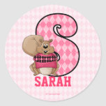 "Pink Squirrel Monogram ""S"" Personalized Stickers"