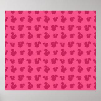 Pink squirrel pattern poster