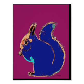 Pink Squirrel Pop Art Poster
