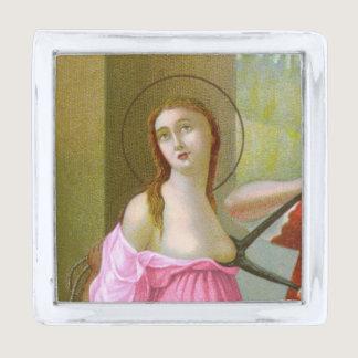Pink St. Agatha (M 003) Silver Finish Lapel Pin
