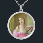 """Pink St. Agatha (M 003) Silver Plated Necklace<br><div class=""""desc"""">St. Agatha is invoked against breast cancer. Here, in this detail from a famous Italian Mannerist painting, her garments have been changed from cream and light teal to shades of pink. Pink is the internationally recognized color symbolic of breast cancer awareness. Adapted detail of an antique chromolithograph published between 1895...</div>"""