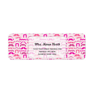Pink stache shipping label