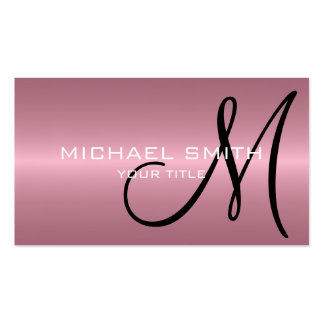 Pink Stainless Steel Metal Monogram Business Cards