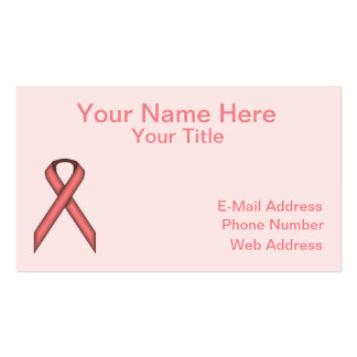Pink Standard Ribbon by Kenneth Yoncich Business Card