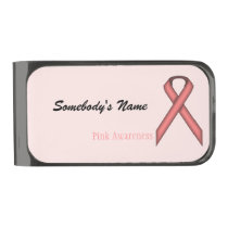 Pink Standard Ribbon by Kenneth Yoncich Gunmetal Finish Money Clip