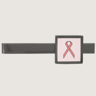 Pink Standard Ribbon by Kenneth Yoncich Gunmetal Finish Tie Clip