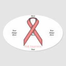 Pink Standard Ribbon by Kenneth Yoncich Oval Sticker