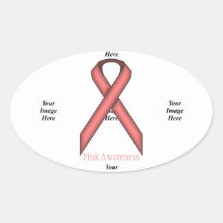 Pink Standard Ribbon by Kenneth Yoncich Oval Sticker