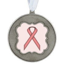 Pink Standard Ribbon by Kenneth Yoncich Pewter Ornament