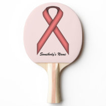 Pink Standard Ribbon by Kenneth Yoncich Ping Pong Paddle