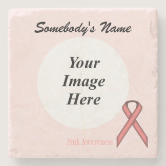 Pink Standard Ribbon by Kenneth Yoncich Stone Coaster