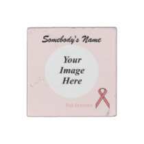 Pink Standard Ribbon by Kenneth Yoncich Stone Magnet