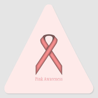 Pink Standard Ribbon by Kenneth Yoncich Triangle Sticker