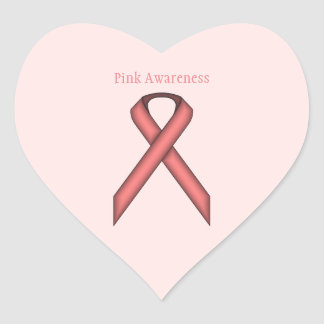 Pink Standard Ribbon Heart Sticker